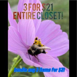 3 for $21 entire closet!